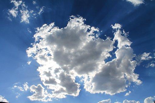 White, Fluffy, Clouds, Blue, Sky, Sunlight, Illuminated