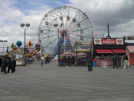 Ferris Wheel, Board Walk, Wonder Wheel, Amusement, Ride