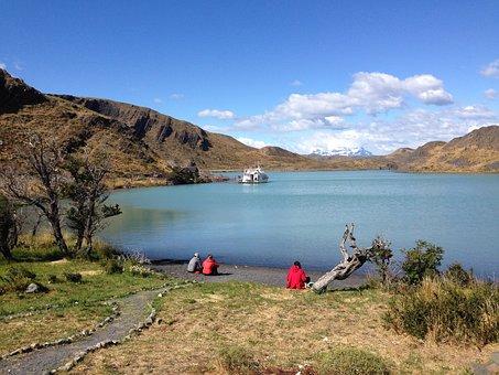 Patagonia, Nature, Lake, Boat, Mountains, Landscape