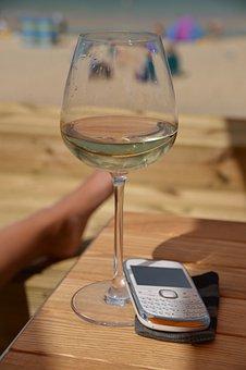 Phone, Wine Glass, Sun, Carbis Bay Beach, Rio, Leg