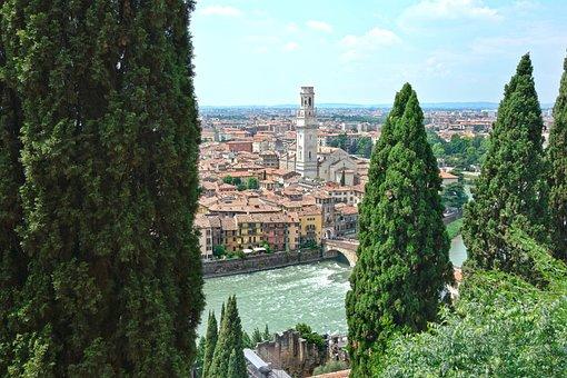 Verona, Landscape, View, Castel San Pietro, Poplars