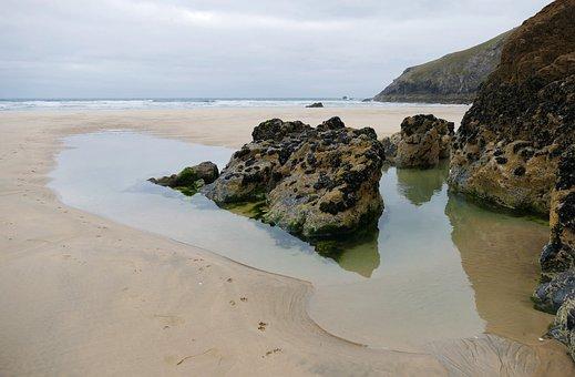 Penhale Sands, Cornwall, Landscape, Bay, Blue, Britain