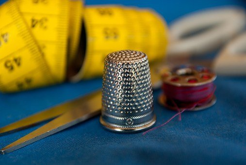 Couture, Sewing, Thimble, Wire, Scissors