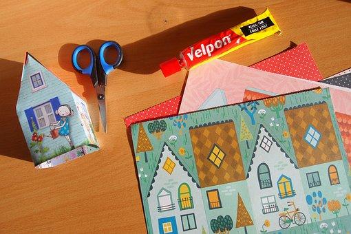 Tinkering, Folding, Paper, Cut, Cottage, Glue, Scissors