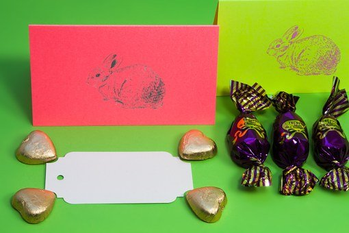 Easter Bunny, Chocolate Pralines, Gold Hearts, Spring