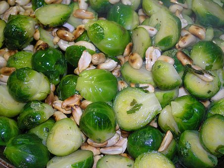 Brussels Sprouts, Toasted, Peanuts, Food, Dining
