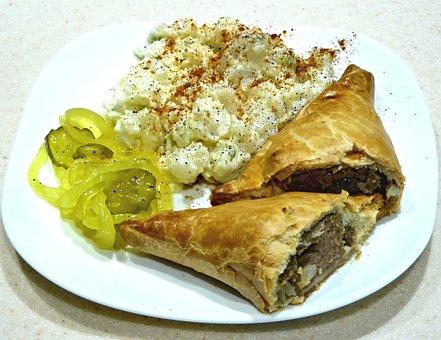 Cornish Pasty, Potato Salad, Sweet Pickles, Ground Beef