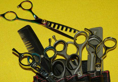 Hairdresser, Scissors, Combs, Hairstyle, Kit