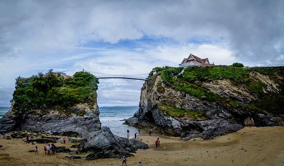 Beach, Cornwall, Bridge, House, England, Sand, Sea