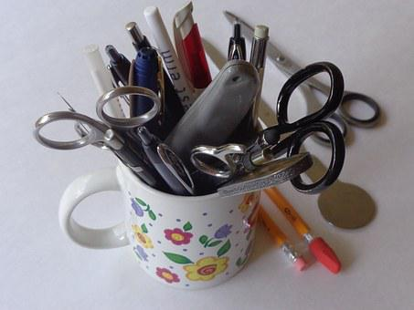 Pens, Scissors, Letter Opener, Paper Supplies, Office