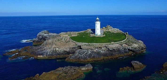 Sea, Cornwall, Lighthouse, Waves, Blue Sea