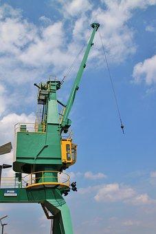Crane, Load Crane, Site, Crane Hooks, Hook, Winch, Sky