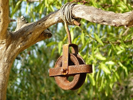 Winds, Winch, Drive, Wheel, Cable, Role, Metal, Rust