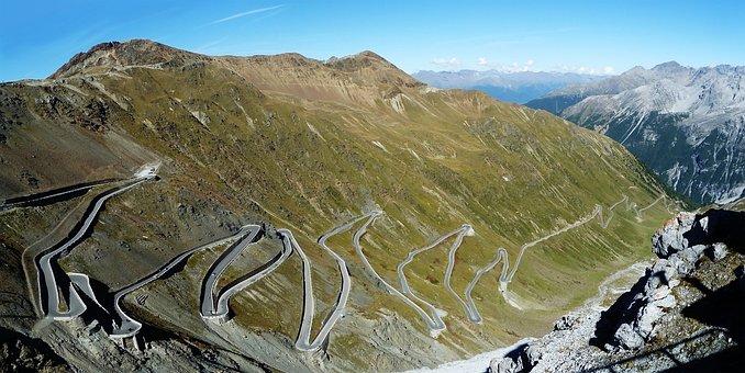 Stelvio Yoke, Pass Road, Mountain Pass, Road, Paved