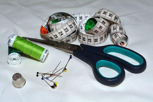 Scissors, Tape Measure, Thread, Needles, Thimble, Sew