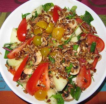 Salad, Tomato, Toasted Pine Nuts, Food, Dining, Rocket