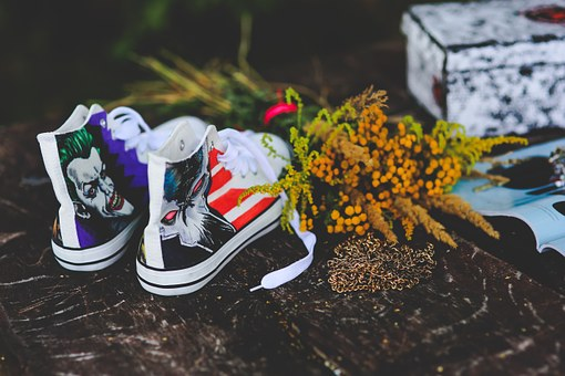 Sneakers, Painted, Awesome, Unusual, White, Shoes