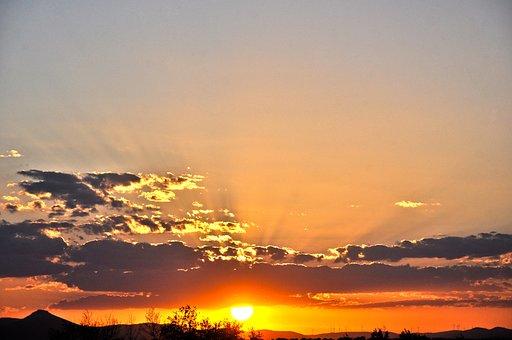 Sunset, Sky, Red, Landscape, Twilight, Ecological, West