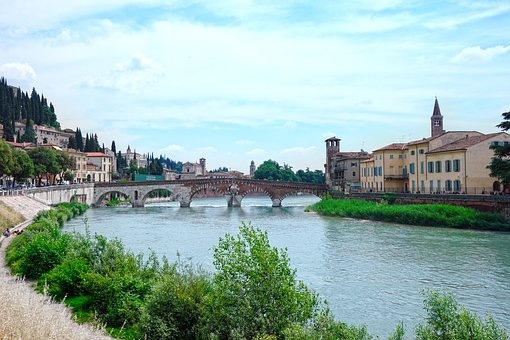 Verona, Stone Bridge, Adige, View, Landscape, Campanile