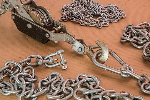 Winch, Ratchet, Tension, Cable, Chain, Shackle, Hook