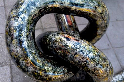 Sculpture, Twisted, Chain, Grunge, Texture, Metal, Old
