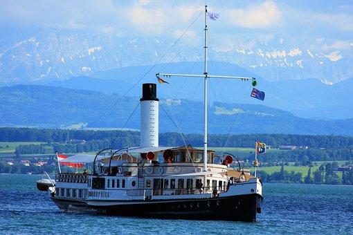 Lake Constance, Hohentwiel, Paddle Steamer, Alpine