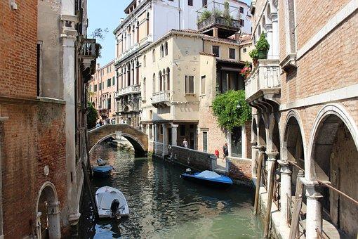 Canal, Architecture, Venetian, Gondola, Street