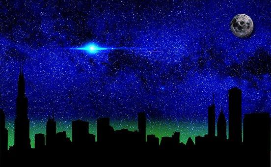 Evening, Sky, Moon, Darkness, Background, Illuminated