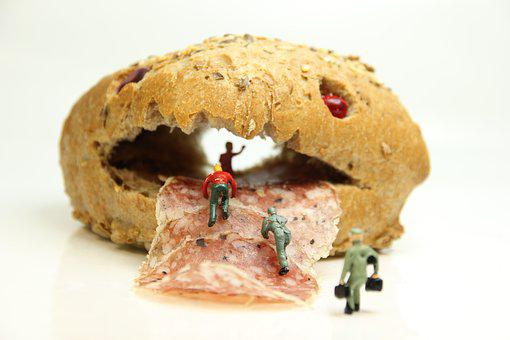 Roll, Salami, Miniature Figures, Bread, Baguette
