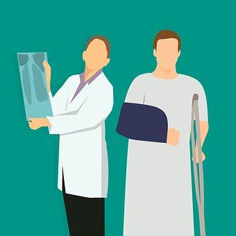X-ray, Doctor, Woman, Checking, Broke, Caucasian