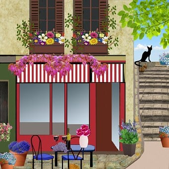 Terrace Café, Bar, Restaurant, Tables, Chairs