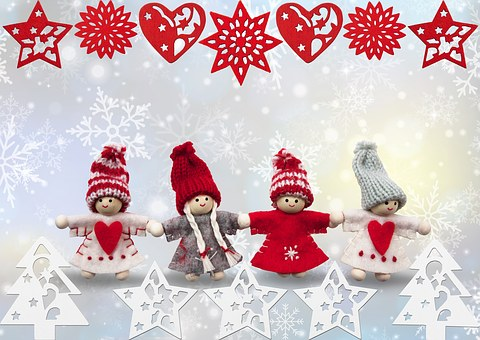 Christmas, Angel, Winter, Hand Labor, Knitted, Heart