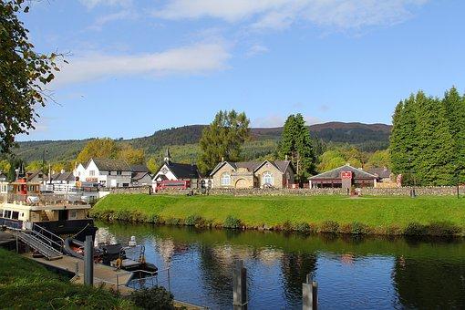 Scottish House, House, Lake, Water, River, Tree