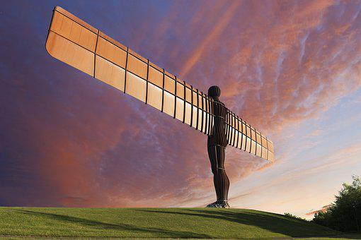 Angel Of The North, Sky, Outdoors, Angels, Landscape