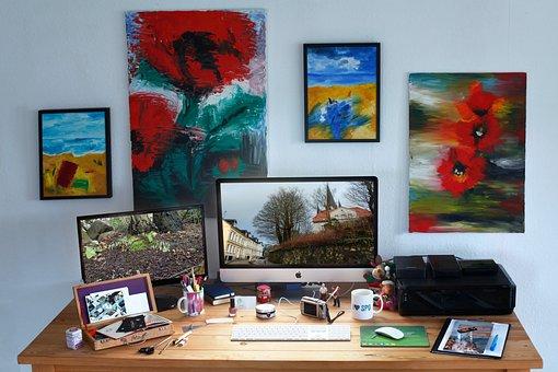Communication, Workplace, Mockup, Mac, Desktop