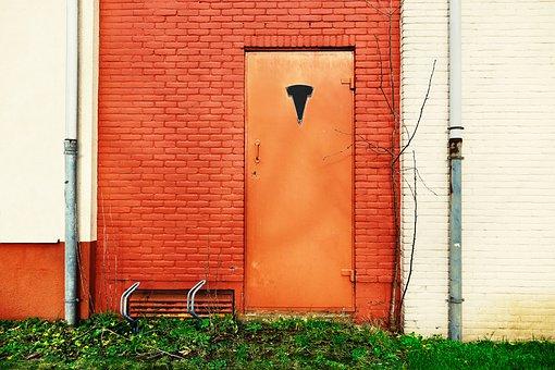 Facade, Wall, Door, Front Door, Orange Door, Entrance