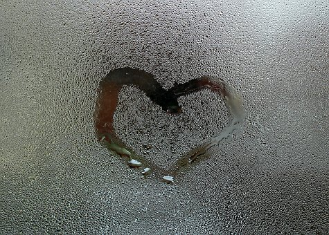 Heart, Pane, Droplets Of Water, Symbol, Window, Glass