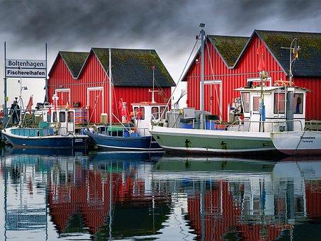 Waters, Port, Horizontal, Pier, Sea, Fishing Boats
