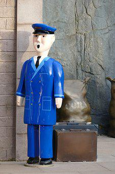 Man, Train, Guard, Person, Rail, Conductor, Statue