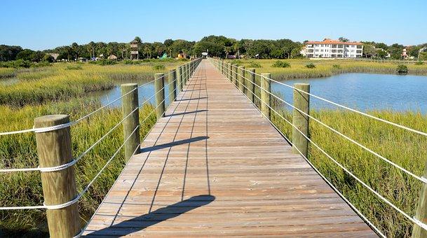 Water, Nature, Sky, Summer, Grass, Boardwalk, Walkway