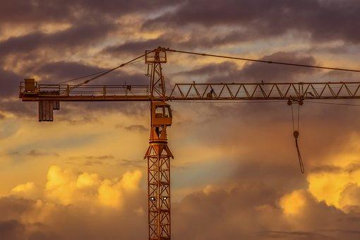 Crane, Sky, Sunset, Industry, Clouds, Dusk, Evening