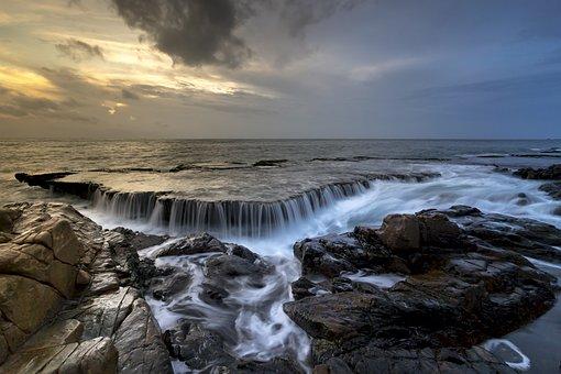 The Sea, The Waterfall, Ocean Waves, The Sun, Rays