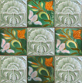 Tile, Wall Tile, Ceramic Tile, Jugendstil, Art Nouveau