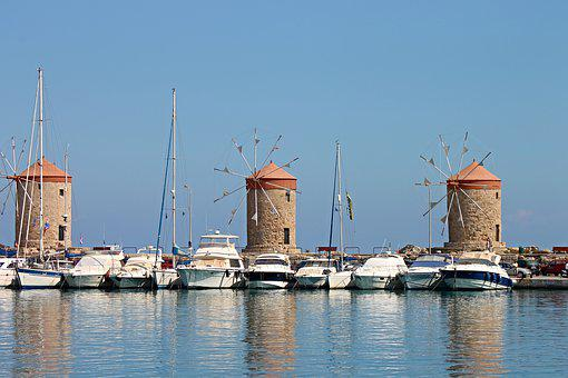 Windmills, Landmark, Rhodes, Island, Greece, Building