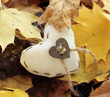 Heart, Autumn, Leaves, True Leaves, Wood, Background