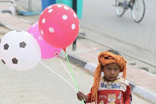Fun, Balloon, Baby, Street, Delhi, Cherris, Kids, Child