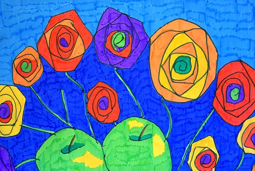Abstract Art, Colourful, Paper, Felt Pens