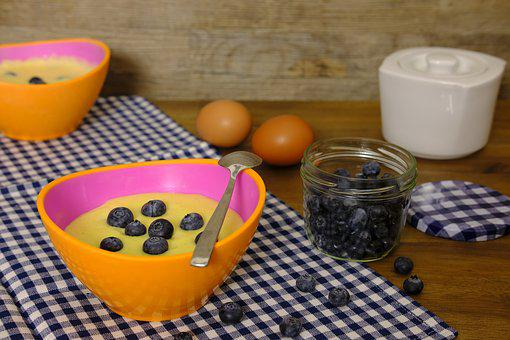 Pudding, Vanilla Pudding, Dessert, Berries, Blueberries