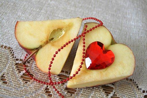 Heart, Valentine's Day, Eating, Fruit, Glass Heart