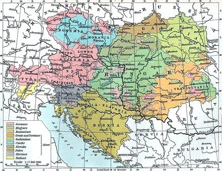 Map, Austria, Hungary, Bosnia, Yugoslavia